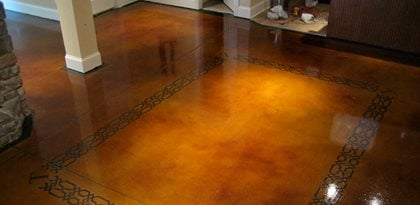 Dye And Seal Concrete, Stained Concrete, Brown Stained Concrete Floor Site  The Design Center Concrete Basement ...