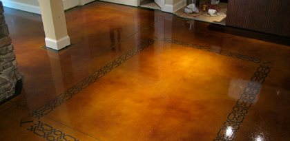 dye and seal concrete stained concrete brown stained concrete floor site the design center - Concrete Floor Design Ideas