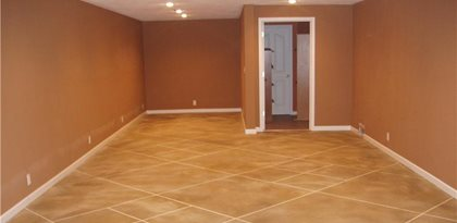 Concrete basement floors photos and ideas for covering concrete in basements the concrete network - Unique floor covering ideas ...