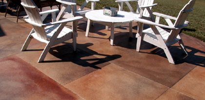 Colored Concrete Patio, Brown Red Concrete Patio, Concrete Patio Color Site Artisticrete, LLC Noblesville, IN