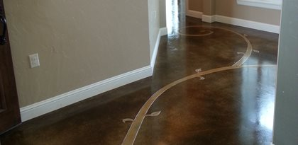 Stained Floor Scrollwork Concrete Floors Decorative Crete Worx Grand Prairie Tx