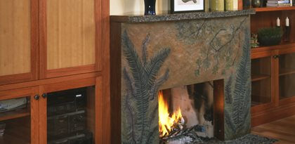 Plants, Stained Fireplace Surrounds Absolute ConcreteWorks Port Townsend, WA