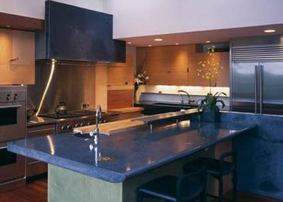 Blue, Large Island Concrete Countertops Cheng Design Products Inc.  Berkeley, CA Kitchen ...