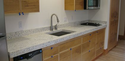 Bone White, Recycled Glass Aggregate Concrete Countertops Alchemy  Construction Inc Arcata, CA