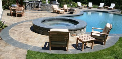 Raised Spa, Stone Concrete Patios New England Hardscapes Inc Acton, MA