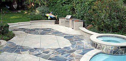 stamped stone concrete patios tom ralston concrete santa cruz ca - Pool Deck Design Ideas