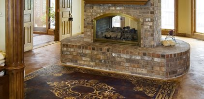 stenciled concrete floor rug concrete patios art over concrete murfreesboro tn