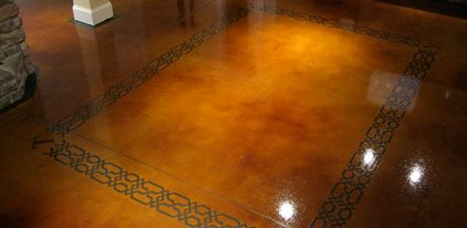Dye And Seal Concrete, Stained Concrete, Brown Stained Concrete Floor Site The Design Center Franklin, TN