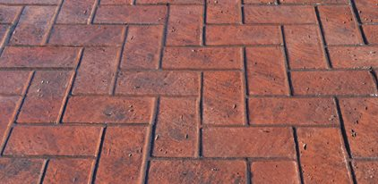 Herringbone New Brick, Stamped Concrete Site Brickform Rialto, CA