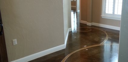 Stained Floor Scrollwork Decorative Crete-Worx Grand Prairie, TX