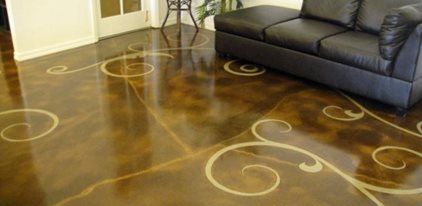 Stained Concrete Floor Art Replaces Worn Carpeting