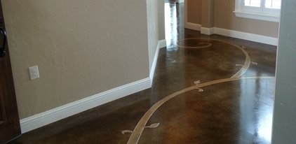 Stained Floor Scrollwork Concrete Floors Decorative Crete-Worx Grand Prairie, TX
