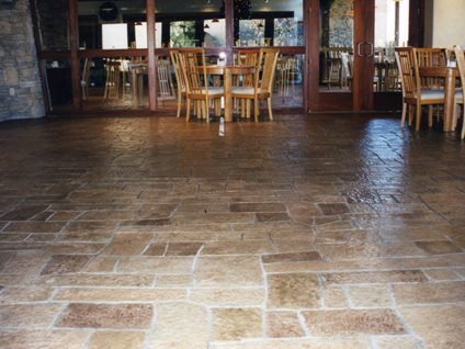 Stamped Concrete Floor, Patterned Floor, Random Pattern Floor Concrete Driveways Concrete Solutions Products by Rhino Linings® San Diego, CA