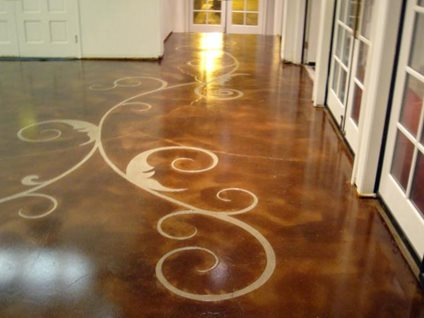 Stained concrete patterned floor