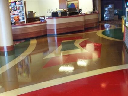 Stained concrete color floor