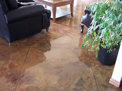 Stained concrete marble floor