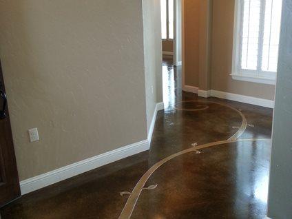 Stained Floor Scrollwork Concrete Floors Decorative Crete-Worx Grand Prairie, TX