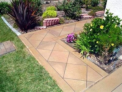 Stamped, Geometric Concrete Walkways Concrete Art Carlsbad, CA. Mid Range:  $12 To $18 Per Square Foot
