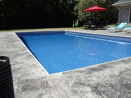 Gray Stamped Pool Deck Modern Decorative Concrete Northern Concrete Denmark, WI