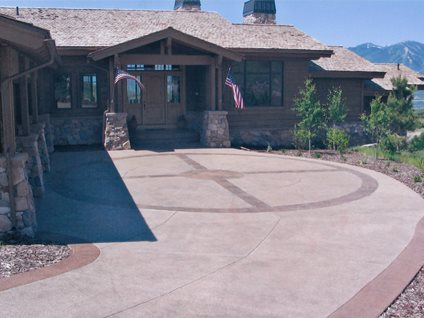 Decorative Driveway Design, Colored Borders Rustic Decorative Concrete Diehl Concrete Sedalia, CO