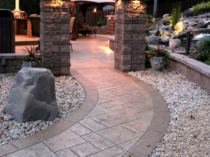 Stone Patios Stamped Concrete Mimics Stone Pavers The