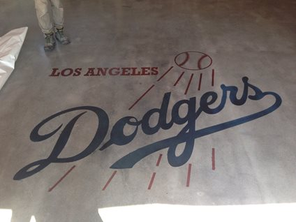 Dodgers Logo, Concrete Stencil Site Los Angeles Concrete Polishing Torrance, CA
