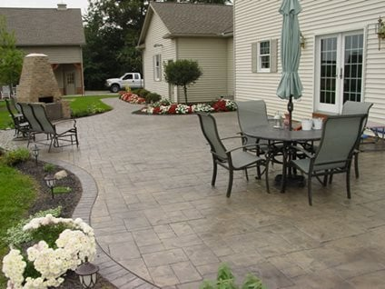 stone patios - stamped concrete mimics stone, pavers - the ... - Ideas For A Concrete Patio