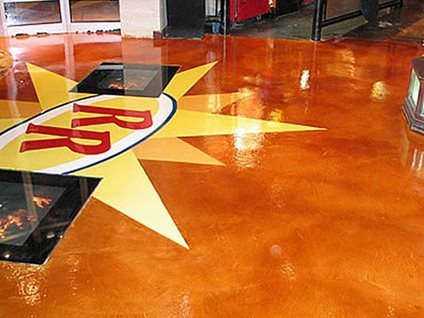Stained, Red Robin, Concrete Floor Site Concrete Solutions Plus, Inc. Watkins, CO
