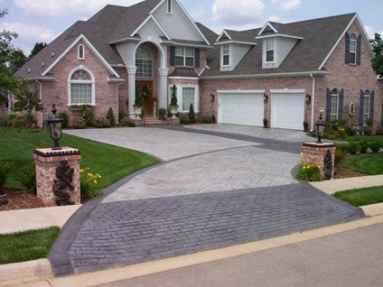 Brick And Concrete Driveway, Patterned Drive, Concrete Pattern Driveway Traditional Decorative Concrete Ozark Pattern Concrete, Inc. Lowell, AR