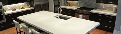 白色,岛状,厨房混凝土台面