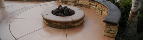 Terra Cotta, Rock Bench Outdoor Fire Pits Surfacing Solutions Inc Temecula, CA