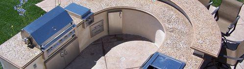 圆形台面图片户外厨房绿色场景查茨沃斯,加利福尼亚州