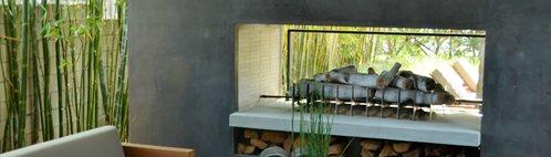 Modern Backyard Fireplace Site ConcreteNetwork.com