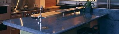 Blue, Large Island Concrete Countertops Cheng Design Products Inc. Berkeley, CA