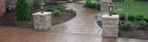 Stamped Concrete Design Ideas photo courtesy of the decorative concrete institute stamping in progress Pillars Lights Walkway Site Jh Decorative Concrete Llc Uniontown Oh Seamless Stamped Concrete Design Ideas
