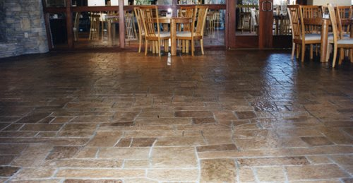 Stamped Concrete Floor, Patterned Floor, Random Pattern Floor Concrete Floors Concrete Solutions Products by Rhino Linings San Diego, CA