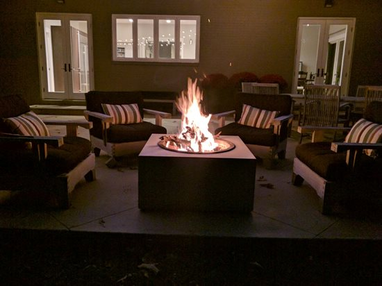 concrete fire bowl wood burning