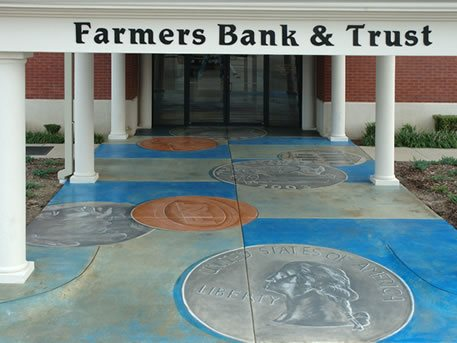 Concrete Walkway, Painted Coins, Coins Drawn On Concrete Concrete Walkways Images In Concrete El Dorado, AR