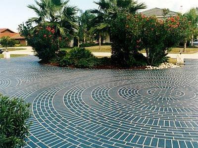 Blue, Brick Circles Concrete Driveways Engrave-A-Crete Mansfield, MO