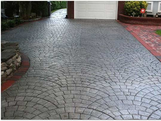 charcoal silver concrete driveways starburst concrete design brewster ny - Concrete Driveway Design Ideas