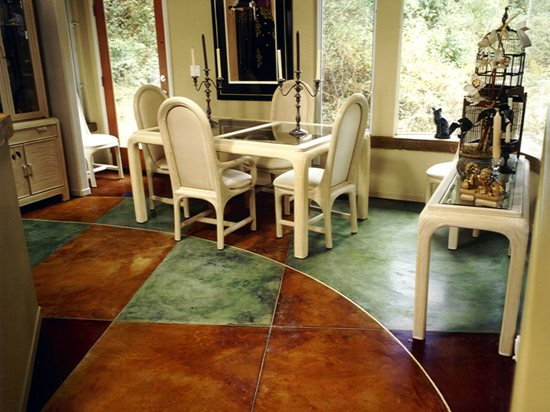 Multi Colored, Green Concrete Floors Diamond D Company Capitola, CA