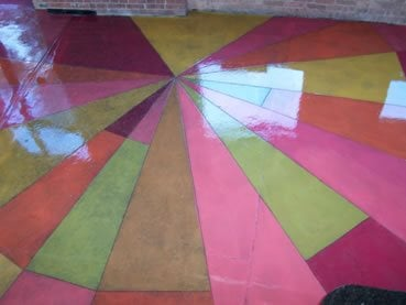 Pink, Green Concrete Floors Concrete Coatings of Illinois Crest Hill, IL