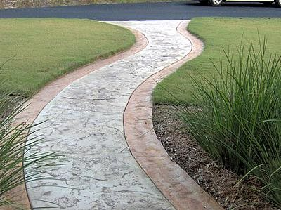 Clay Border, Texture Concrete Walkways Custom Concrete Solutions Schertz, TX