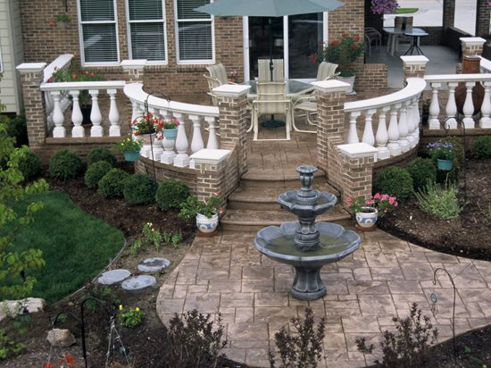 Fountain, Stone Steps Concrete Walkways Action Concrete Services Canton, MI