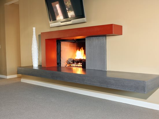 Two Tone, New Age Fireplace Surrounds Pourfolio Custom Concrete San Diego, CA
