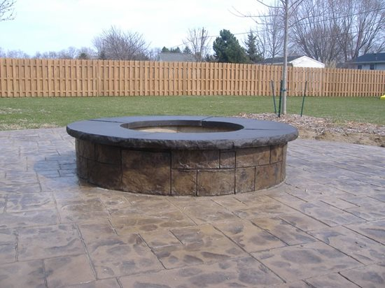 Stamped Concrete Patio With Firepit Outdoor Fire Pits Concrete Impressions, LLC East Leroy, MI