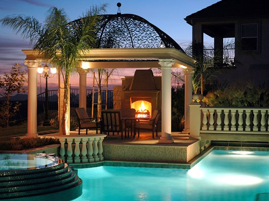 Poolside, Brick Outdoor Fireplaces The Green Scene Chatsworth, CA