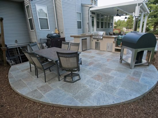 Stamped Concrete Patio Round Site Salzano Custom Al Va