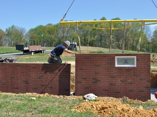 Stenciled Concrete Walls, Brick Site Superior Walls of America New Holland, PA