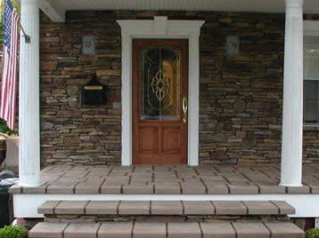 台阶,石头基地独特的混凝土西米尔福德,新泽西州